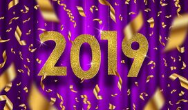 New year 2019 illustration. Glitter gold numbers and golden foil confetti on a purple curtain background. New year 2019 vector illustration. Glitter gold stock illustration
