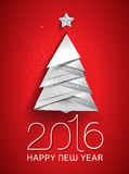 New Year vector illustration. 2016 New Year greeting card with christmas tree. Vector illustration Stock Photos