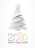 New Year vector illustration. 2016 New Year greeting card with christmas tree. Vector illustration. EPS10 Stock Photo