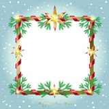 New Year 2017. 2017 Vector illustration for Merry Christmas and Happy New Year greeting card background with Christmas fir tree and red ribbon frame, Gold Stock Photos