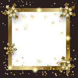 New Year gold Christmas frame copy space. Vector gold decorative frame for Merry Christmas and Happy New Year greeting card Luxury background with Christmas Gold Royalty Free Stock Photo