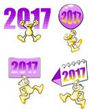 New Year 2017 vector illustration set Royalty Free Stock Photography