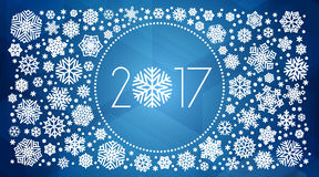 New year 2017 vector illustration with white snowflakes. On dark blue background Stock Photography