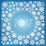 New year 2017 vector illustration with white snowflakes. On dark blue background Stock Photo