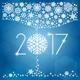 New year 2017 vector illustration with white snowflakes. On dark blue background Royalty Free Stock Photography