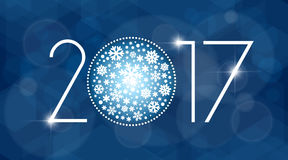 New year 2017 vector illustration with white snowflakes. On dark blue background Royalty Free Stock Image
