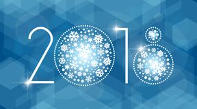 New year 2018 vector illustration with white snowflakes. On dark blue background Royalty Free Stock Images