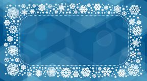 New year 2018 vector illustration with white snowflakes. On dark blue background Stock Photo