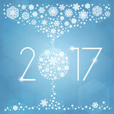 New year 2017 vector illustration with white snowflakes. On light blue background Royalty Free Stock Images