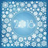 New year 2018 vector illustration with white snowflakes. On dark blue background Royalty Free Stock Photo