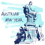 New Year Vector Illustration. World Famous Landmarck Series: Austria, Vienna, Dunnerbrunnen Fountain. Austrian New Year. Stock Image
