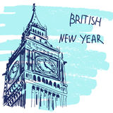 New Year Vector Illustration. World Famous Landmarck Series: Big Ben, London, England. British New Year. Royalty Free Stock Photos
