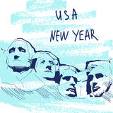 New Year Vector Illustration. World Famous Landmarck Series: USA, Mount Rushmore, Six Grandfathers. USA New Year Royalty Free Stock Photos