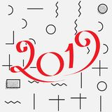 2019 New Year Design. 2019 New Year Vector Numbers on Memphis Pattern Background. Winter Holidays Greeting Card Design Royalty Free Stock Images