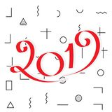 2019 New Year Design. 2019 New Year Vector Numbers on Memphis Pattern Background. Winter Holidays Greeting Card Design Royalty Free Stock Photos