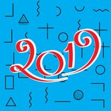 2019 New Year Design. 2019 New Year Vector Numbers on Memphis Pattern Background. Winter Holidays Greeting Card Design Stock Image