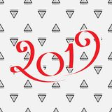 2019 New Year Design. 2019 New Year Vector Numbers on Memphis Pattern Background. Winter Holidays Greeting Card Design Stock Photos
