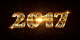 New year vector ornate golden number. 2017 new year vector ornate golden number on dark background Vector Illustration