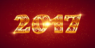 New year vector ornate golden number Royalty Free Stock Image