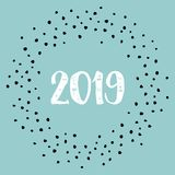 New Year 2019 vector sign with dots on pastel background Stock Photos