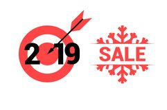 New Year 2019. Vector Target and Sale Symbols. Merry Christmas and Happy New Year Design Elements. Resource for Creating Postcards, Calendars or Posters royalty free illustration