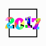 2017. New Year. Vector unique artistic font brush. Strokes background with glitter elements for card, poster, brochure, flyer, web and other users Royalty Free Stock Photography