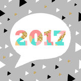 2017. New Year. Vector unique artistic font brush. Strokes background with glitter elements for card, poster, brochure, flyer, web and other users Royalty Free Stock Photo