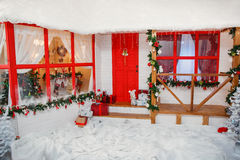 New Year veranda. House decoration in red style Royalty Free Stock Image