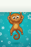 New Year vertical banner with Monkey for year 2016. Chinese new year astrological sign. Monkey Cute Character. Vector illustration. Place for your text Royalty Free Stock Photo