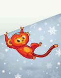 New Year vertical banner with Red Monkey for year 2016. Chinese new year astrological sign. Monkey Cute Character. Vector illustration. Place for your text Royalty Free Stock Photography