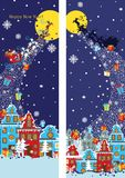 New Year vertical banner set.Santa Claus coming to City Stock Photos