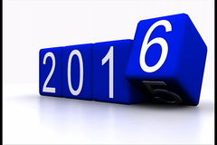 New year 2016. Video 3D animation - dice with new year 2016 stock video footage