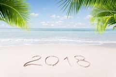 New year. View of nice Christmas and  new year theme  tropical beach Stock Images