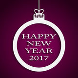 New Year Violet Background. Christmas Ball. 2017. Round Christmas Frame on Star Sky Night. Violet Abstract Background. Christmas Ball. Template Postcard Royalty Free Stock Photos