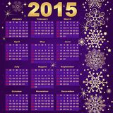 2015 New Year violet-Gold Calendar. (vector eps 10 Stock Images