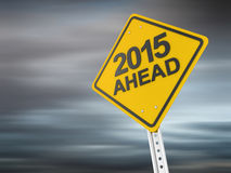 New year 2015. Warning sign , computer generated image. 3d render Royalty Free Stock Photos