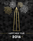 New Year 2016 washington USA travel monument gold. Happy New Year 2016 Washington greeting card with USA United States monument obelisk in gold outline style Royalty Free Illustration