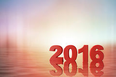 New year 2016. 2016 in water and pastel bokeh reflection Royalty Free Stock Photos