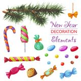 New Year watercolor Decoration Elements. New Year Decoration Elements with watercolor hand drawn candies and tree branch Stock Photos