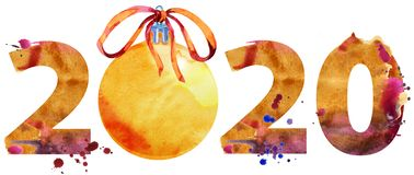 Watercolor illustration new year two thousand and twenty with Christmas decorations. New year 2020 watercolor number with Christmas decorations isolated on the vector illustration