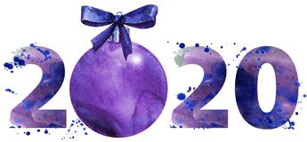 Watercolor illustration new year two thousand and twenty with Christmas decorations. New year 2020 watercolor number with Christmas decorations isolated on the stock illustration