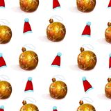 New year watercolor seamless pattern with golden Christmas balls and red santa hats. Watercolor Christmas seamless pattern with golden new year balls and red stock illustration