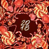New year 2018. Watercolor sweets card. New year lollipop border with decor for design, print or background. Christmas. Background with candy on red paper Royalty Free Stock Photos