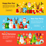 New Year Web Horizontal Banners Stock Photography