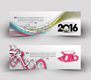 New year 2016 website banner. New year 2016 website header and banner set with presents Royalty Free Stock Images