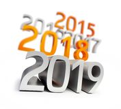 New year 2019 on a white background. 3D illustration stock illustration