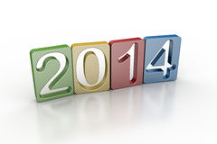 New year 2014. In white background Stock Photo