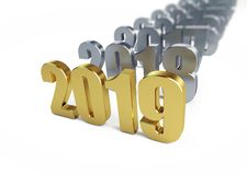 New Year 2019 on a white background 3D illustration, 3D rendering. New Year 2019 on a white background 3D illustration, 3D royalty free illustration