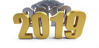 New Year 2019 on a white background 3D illustration, 3D rendering. New Year 2019 on a white background 3D illustration, rendering royalty free illustration