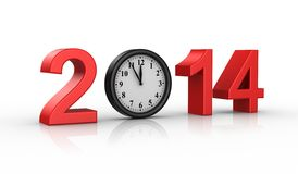 New Year 2014. White background,  3d render Royalty Free Stock Image